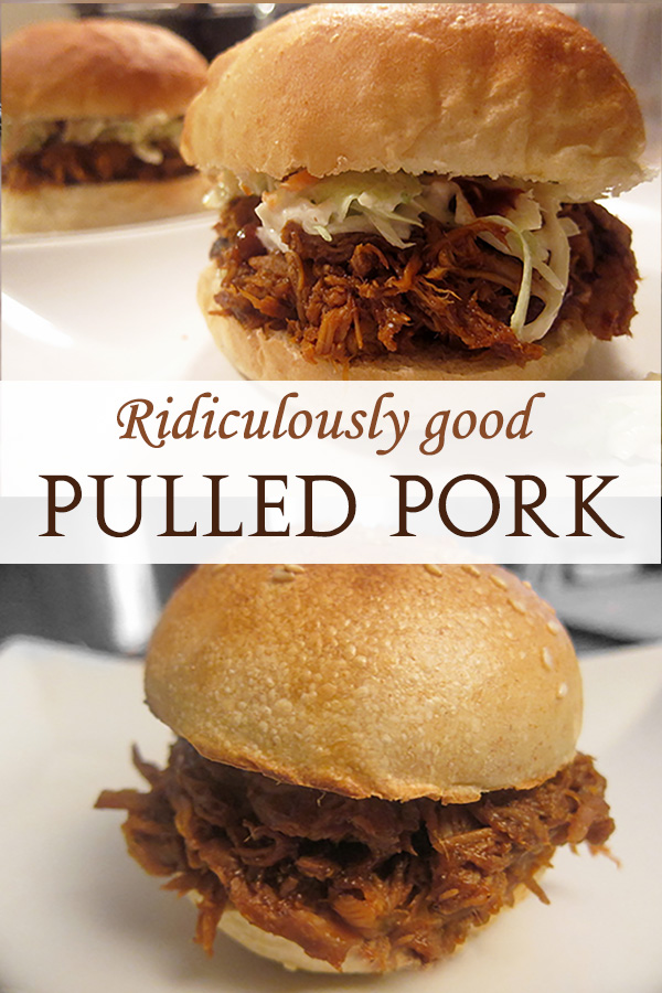 delicious pulled pork on a homemade brioche sandwich bun