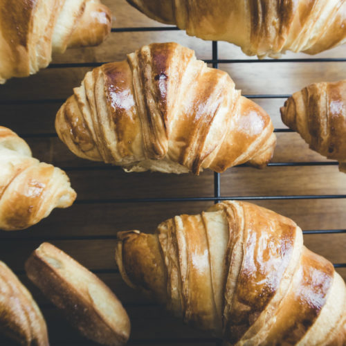fresh baked puff pastry croissants