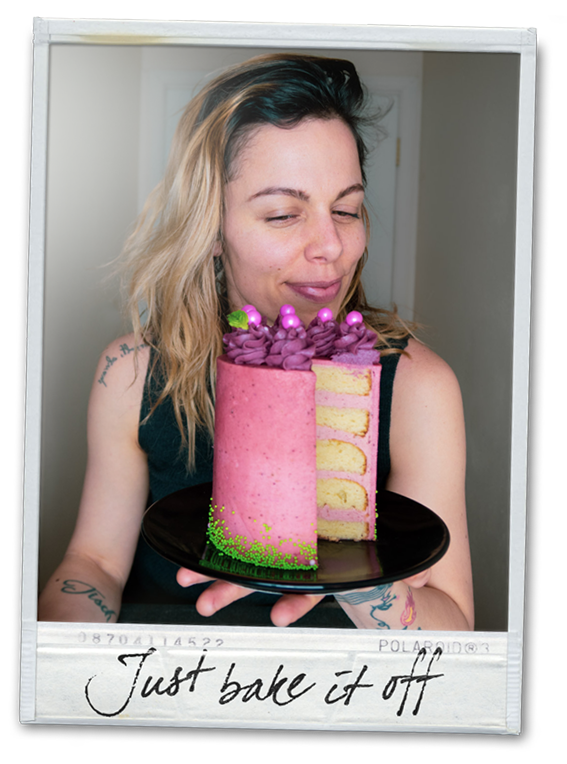 Picture of girl holding cake and smiling